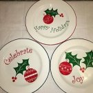 "3 red green CHRISTmas holly leaf 9"" plates dishes Happy Holidays Joy Celebrate"