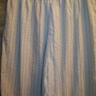 Seersucker elasitc waist pinstriped light cropped peddle pusher pants plus 2XL