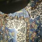 Hippie boho peasant style gathered keyhole tie neckline silky blouse top S retro