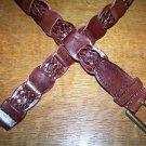 "Brass bucklet linked woven weave braid leather belt 1.25"" women M-L dark brown"