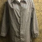 Verticle stripe navy white long sleeve button down shirt ROMANS generous size L