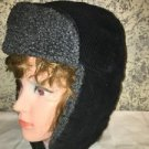Vintage style black corduroy faux wool lined trappers hat ear flaps velcro close