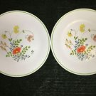 "2 CORELLE Wildflower 8.5"" lunch salad plates dishes dinnerware flower green band"