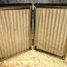 Bi-fold vntg emboss gold brass metal double hinge 3.5x5 picture frame MCM decor