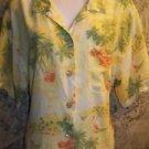 TOMMY BAHAMA yellow island button down blouse shirt short sleeve woman plus 1X