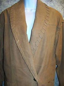 80s tan leather 1 button laced edges retro coat jacket women's S western cowboy