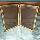 Bi-fold vintage embossed gold brass metal double hinge 3.5x5 frame photo picture