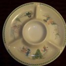 PRECIOUS MOMENTS Enesco chip dip veggie divided server dish plate CHRISTmas GUC