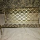 Vintage gold metal Mid Century Modern 45 rpm record holder rack storage retro