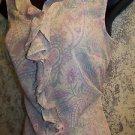 Semi sheer artsy paisely v-neck ruffle front feminine women's 10 dressy blouse