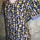Black yellow purple floral print v-neck scrubs top nurse medical uniform size M