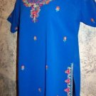 OOAK handmade kurti kutra blouse royal blue szie 40 detailed hand embroidery