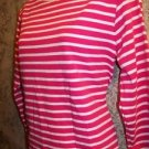 ULTRA SOFT pink white stripe modest scoop neckline knit stretch 3/4 sleeve top M
