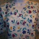 Spring flowers women S scrubs nurse medical dental uniform top pullover v-neck