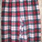 Red green plaid soft warm fleece sleep lounge pj pajama bottoms pants women S