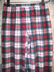 Red green plaid soft warm fleece sleep lounge pj pajama bottoms pants women S