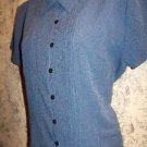 Short sleeve check black blue loop button pleat detail stretch blouse M career