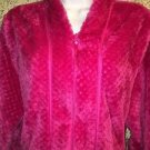 Hot pink fushia plush textured zip front bath bed robe below knee XL modest soft