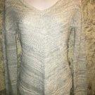 PINK ROSE fine loose knit v-neck sweater diagonal V pattern gray lightweight XS