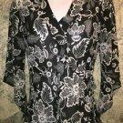 Black white artsy floral semi sheer wrap vee blouse asymmetrical bell sleeves S