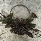 French horn brass CHRISTmas door wall hanging decor pine branch bow berries used