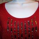 AUGUST SILK lightweight stretch red metallic rhinestone gem scoop neckline XL