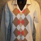 IZOD Golf ivory khaki argyle v-neck collared cotton sweater classic women's M