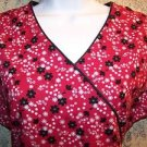Red black floral DICKIES pullover v-neck scrubs nurse dental medical women XS-S