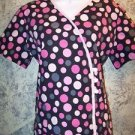 Stylish pink black dots wrap look pullover vneck scrub top nurse medical women S
