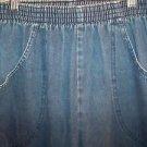 Straight leg elastic waist denim blue jeans women's 18 medium wash pull-on Used