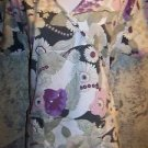 Tropical flower khaki wrap look scrub top nurse dental medical women S back tie