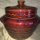 Vntg MARCREST Oven Proof daisy dot bean pot covered dish Mid Century stoneware
