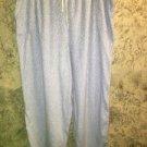 Blue white stars flannel sleep lounge pj pajamas bottoms pants L elastic waist