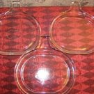 "3 clear glass skillet casserole dish lid ovenware bakeware handled 6x8"" shallow"
