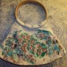 Hobo bag handbag purse tote 11x18 hand stencil paint leaf nature ring handle NWT
