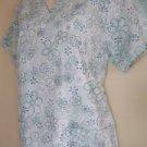 Women's size S small scrubs nurse uniform top pullover v-neck green floral GUC