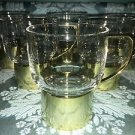 6 vintage Mid Century heavy gold tone metal removable pedestal base glasses cups