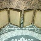 "2 Bi-fold vntg emboss gold brass metal double hinge 3x4"" frame photo fine detail"