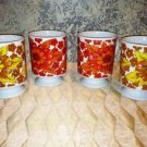 Lot of 4 vintage coffee tea espresso cups mugs fall colors retro 70s red yellow