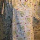 Botanical fall leaves pullover v-neck scrubs top nurse medical uniform women M
