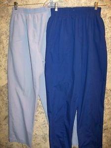 2 blue elastic waist straight leg scrubs pants nurse dental medical uniform M