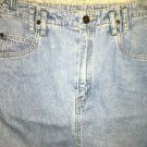 LIZ CLAIBORNE LizWear faded denim blue jean straight 5 pocket skirt above knee 8