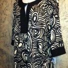 KSL KARIN STEVENS tribal print NWT black beige stretch tunic dress women 14W $70