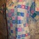 Abstract artsy checker blocks pullover v-neck scrubs top dental vet medical S