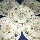 """3 vintage SEARS French Country Ironstone flowers scallop dinner plate 10.5"""" GC"""