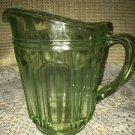 "Vaseline glass light lime green cream pitcher flawed 5"" tall antique depression"