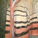 Artsy stripe open front sweater M hooded 3/4 sleeve orange peach medium weight