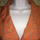 ERICA BROOKE woman's plus 14 orange plaid sleeveless blouse lightweight casual