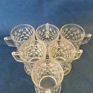 "Set 6 vintage clear pressed diamond glass small coffee tea cups mugs 3"" high"