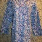 Long floral lab coat scrubs top button jacket medical uniform dental women M